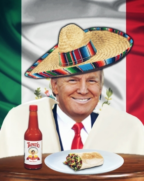 Trump in Mexican hat